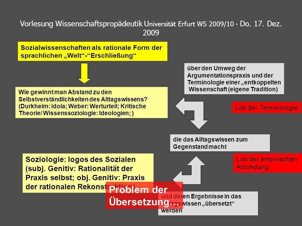 Vorlesung Wissenschaftspropädeutik U niversität Erfurt WS 2009/10 - Do. 17. Dez. 2009 Soziologie: logos des Sozialen (subj. Genitiv: Rationalität der