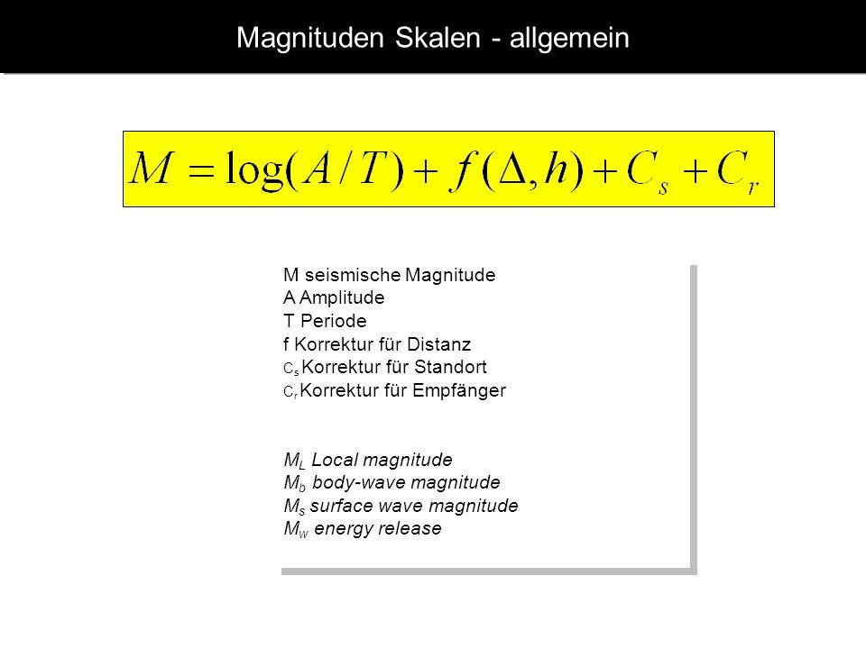 www.geophysik.uni-muenchen.de -> Studium -> VorlesungenSeismology - Slide 10 Richter Skala Grafische Bestimmung der Magnitude