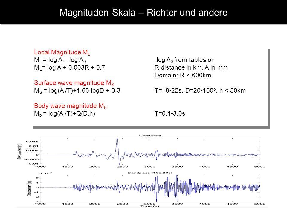 www.geophysik.uni-muenchen.de -> Studium -> VorlesungenSeismology - Slide 11 Magnituden Skalen - allgemein M seismische Magnitude A Amplitude T Period
