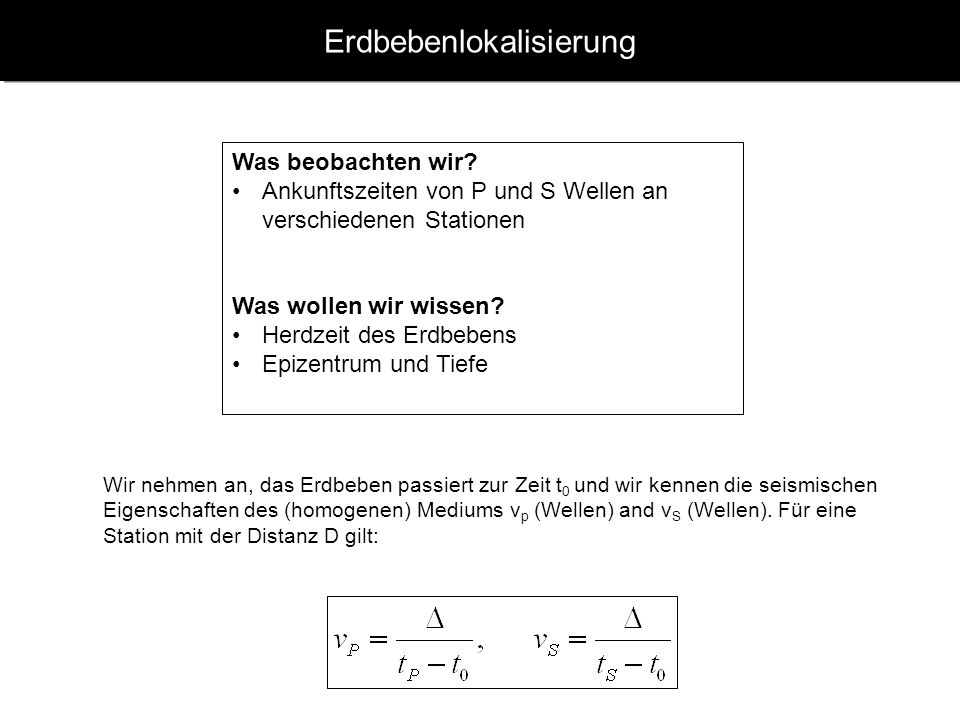 www.geophysik.uni-muenchen.de -> Studium -> VorlesungenSeismology - Slide 23 Scherdislokation – Bestimmung von Herdmechanismen P Polarisationen in verschiedenen Richtungen werden zur Abschätzung der Lage der Verwerfungsfläche herangezogen