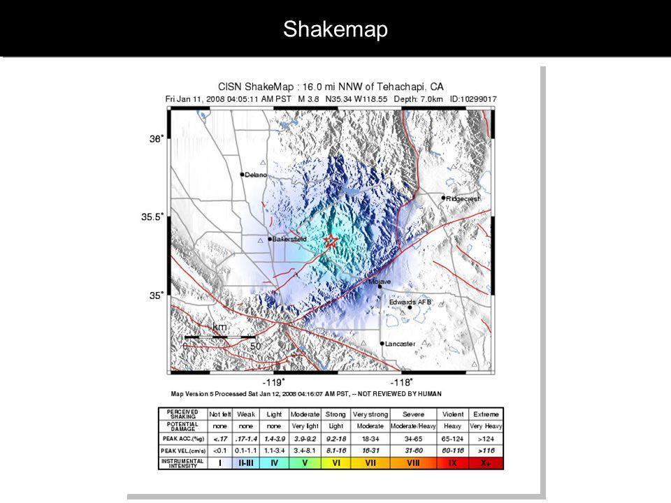 www.geophysik.uni-muenchen.de -> Studium -> VorlesungenSeismology - Slide 45 Mercalli Intensität und Richter Magnitude MagnitudeIntensityDescription 1