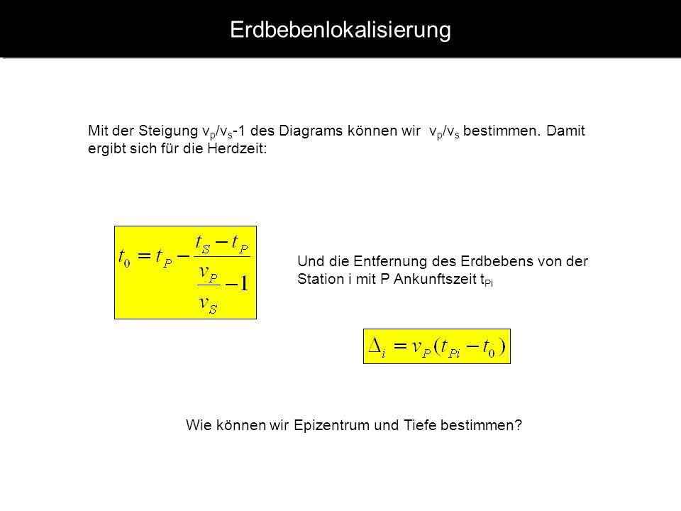 www.geophysik.uni-muenchen.de -> Studium -> VorlesungenSeismology - Slide 5 Erdbebenlokalisierung Mit der Steigung v p /v s -1 des Diagrams können wir v p /v s bestimmen.