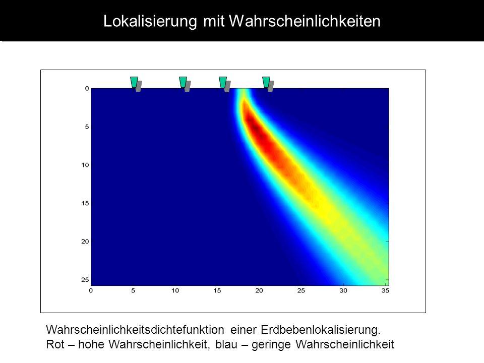 www.geophysik.uni-muenchen.de -> Studium -> VorlesungenSeismology - Slide 7 Lokalisierung mit Wahrscheinlichkeiten Wahrscheinlichkeitsdichtefunktion einer Erdbebenlokalisierung.