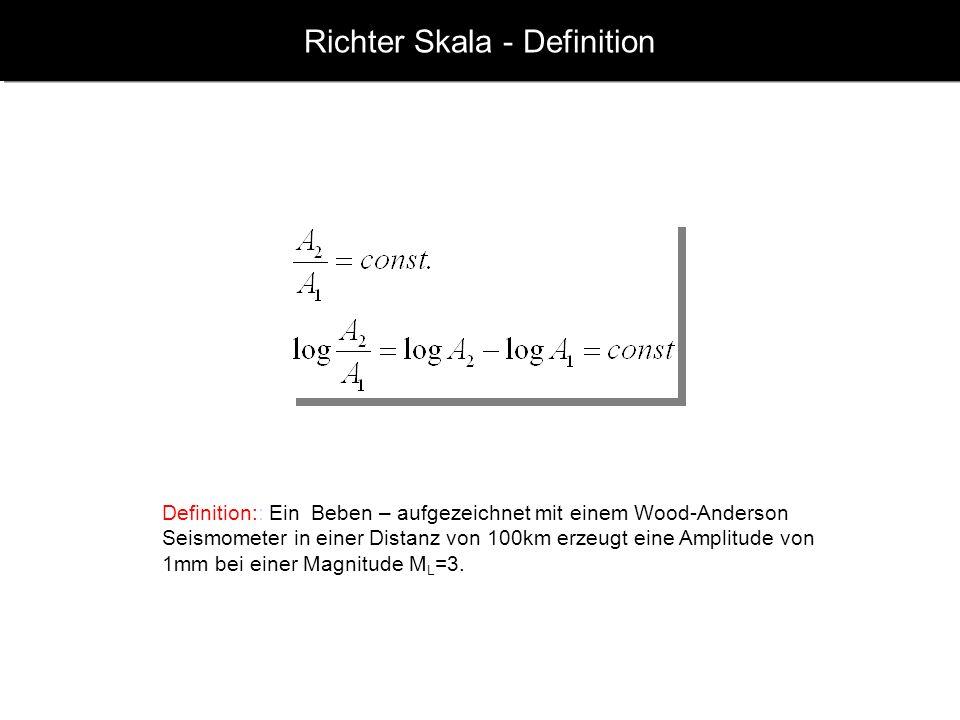 www.geophysik.uni-muenchen.de -> Studium -> VorlesungenSeismology - Slide 9 Richter Skala - Definition Definition:: Ein Beben – aufgezeichnet mit einem Wood-Anderson Seismometer in einer Distanz von 100km erzeugt eine Amplitude von 1mm bei einer Magnitude M L =3.