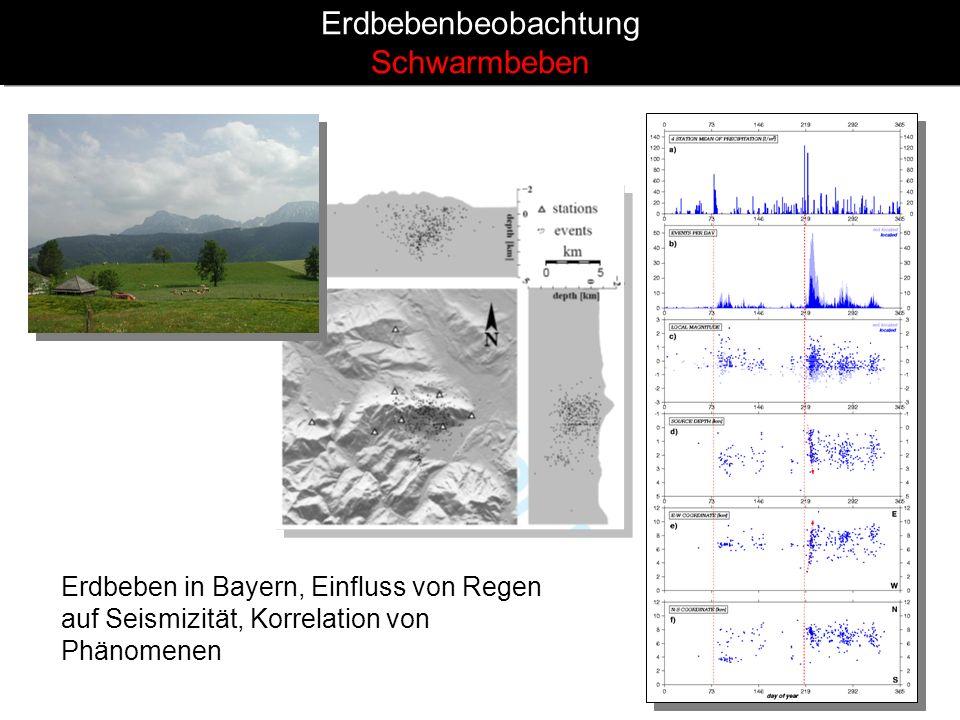 Erdbebenbeobachtung Schwarmbeben Erdbeben in Bayern, Einfluss von Regen auf Seismizität, Korrelation von Phänomenen