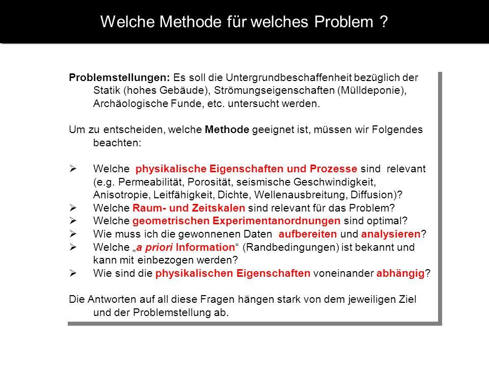 Welche Methode für welches Problem ? Problemstellungen: Es soll die Untergrundbeschaffenheit bezüglich der Statik (hohes Gebäude), Strömungseigenschaf