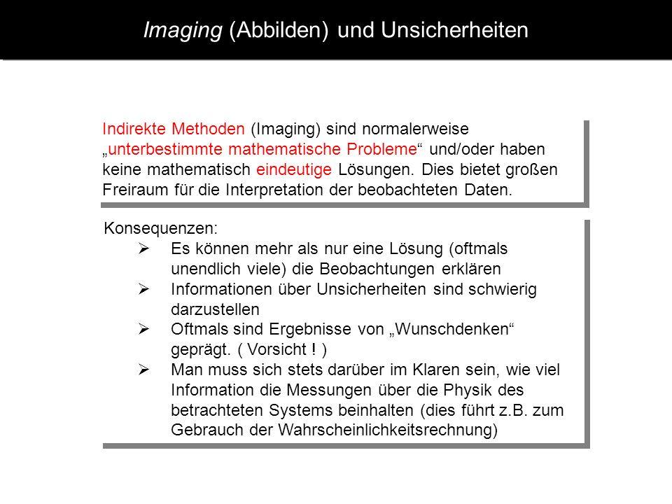 Imaging (Abbilden) und Unsicherheiten Indirekte Methoden (Imaging) sind normalerweiseunterbestimmte mathematische Probleme und/oder haben keine mathem