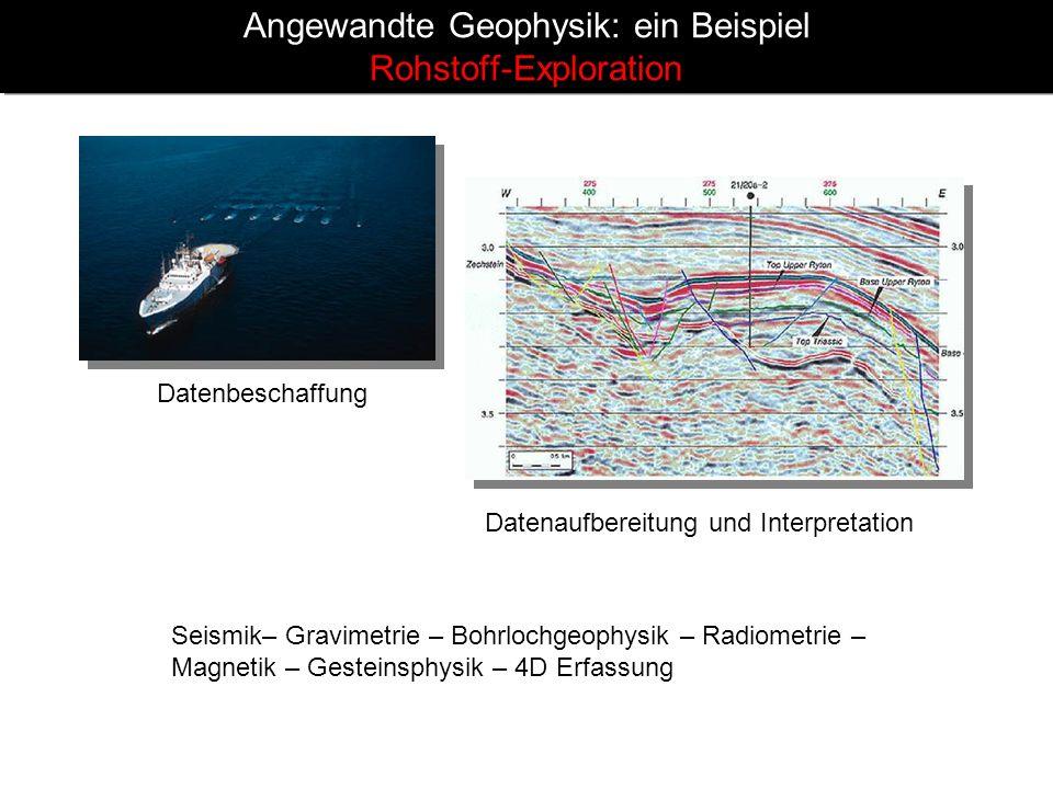 Angewandte Geophysik: ein Beispiel Rohstoff-Exploration Datenbeschaffung Datenaufbereitung und Interpretation Seismik– Gravimetrie – Bohrlochgeophysik