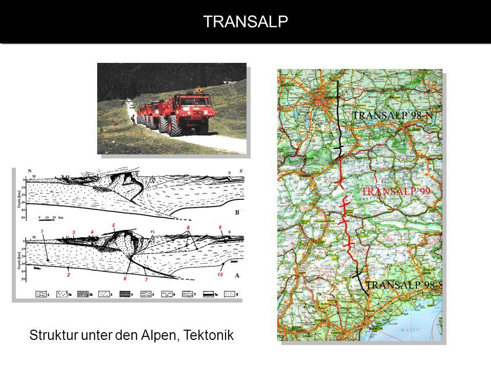 TRANSALP Struktur unter den Alpen, Tektonik