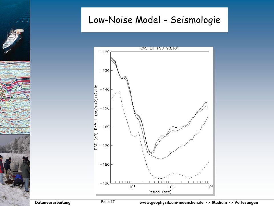 www.geophysik.uni-muenchen.de -> Studium -> VorlesungenDatenverarbeitung Folie 17 Low-Noise Model - Seismologie