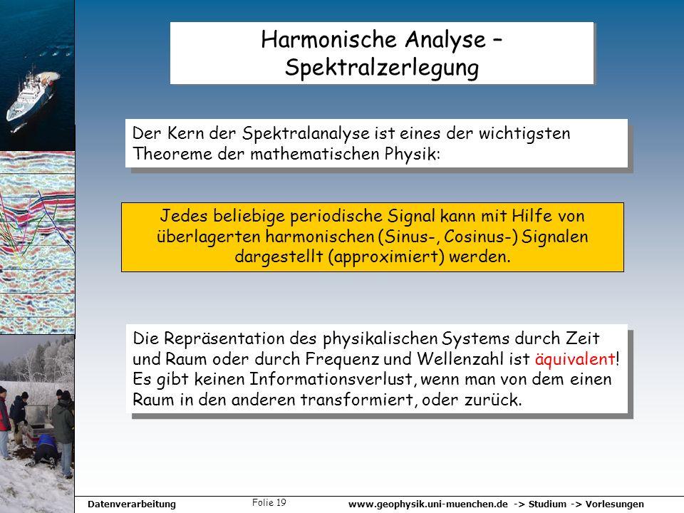 www.geophysik.uni-muenchen.de -> Studium -> VorlesungenDatenverarbeitung Folie 19 Harmonische Analyse – Spektralzerlegung Der Kern der Spektralanalyse