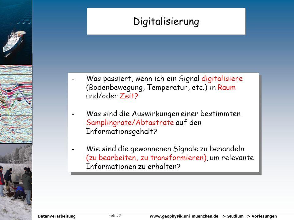 www.geophysik.uni-muenchen.de -> Studium -> VorlesungenDatenverarbeitung Folie 2 Digitalisierung -Was passiert, wenn ich ein Signal digitalisiere (Bod