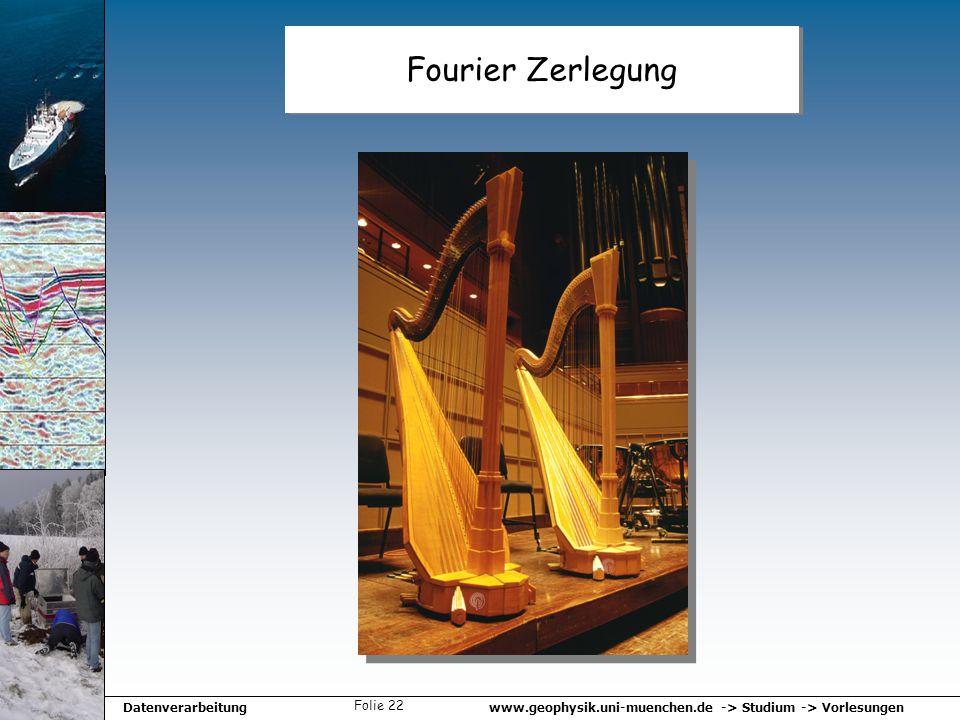 www.geophysik.uni-muenchen.de -> Studium -> VorlesungenDatenverarbeitung Folie 22 Fourier Zerlegung