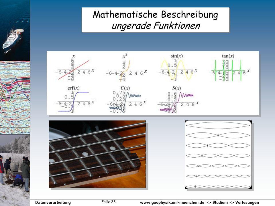 www.geophysik.uni-muenchen.de -> Studium -> VorlesungenDatenverarbeitung Folie 23 Mathematische Beschreibung ungerade Funktionen