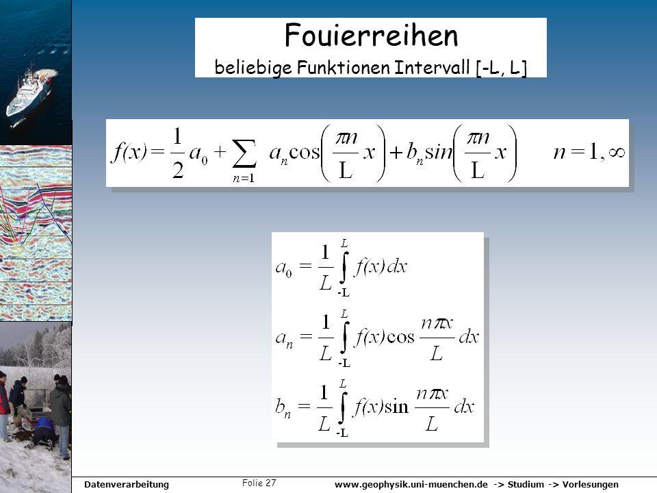 www.geophysik.uni-muenchen.de -> Studium -> VorlesungenDatenverarbeitung Folie 27 Fouierreihen beliebige Funktionen Intervall [-L, L]