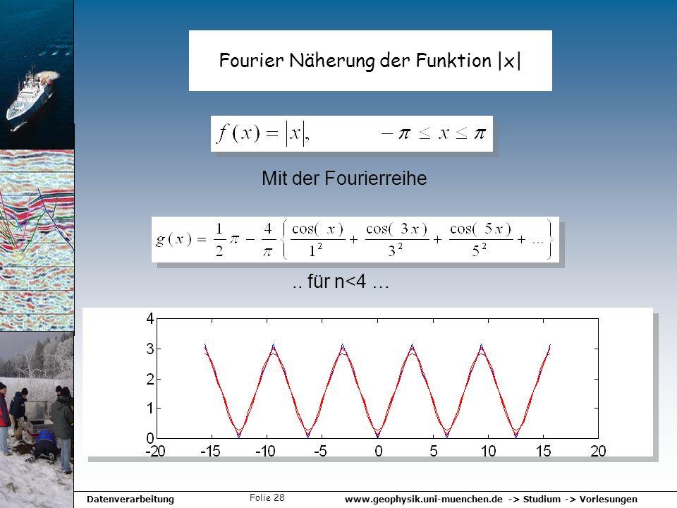 www.geophysik.uni-muenchen.de -> Studium -> VorlesungenDatenverarbeitung Folie 28 Fourier Näherung der Funktion |x|.. für n<4 … Mit der Fourierreihe