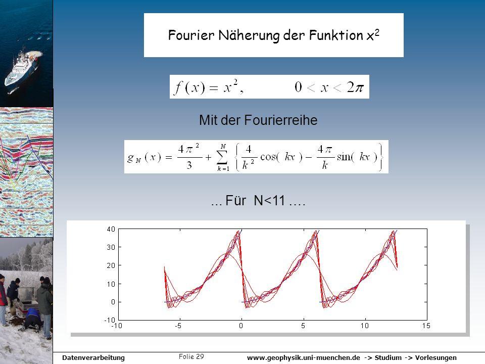 www.geophysik.uni-muenchen.de -> Studium -> VorlesungenDatenverarbeitung Folie 29 Fourier Näherung der Funktion x 2... Für N<11 …. Mit der Fourierreih