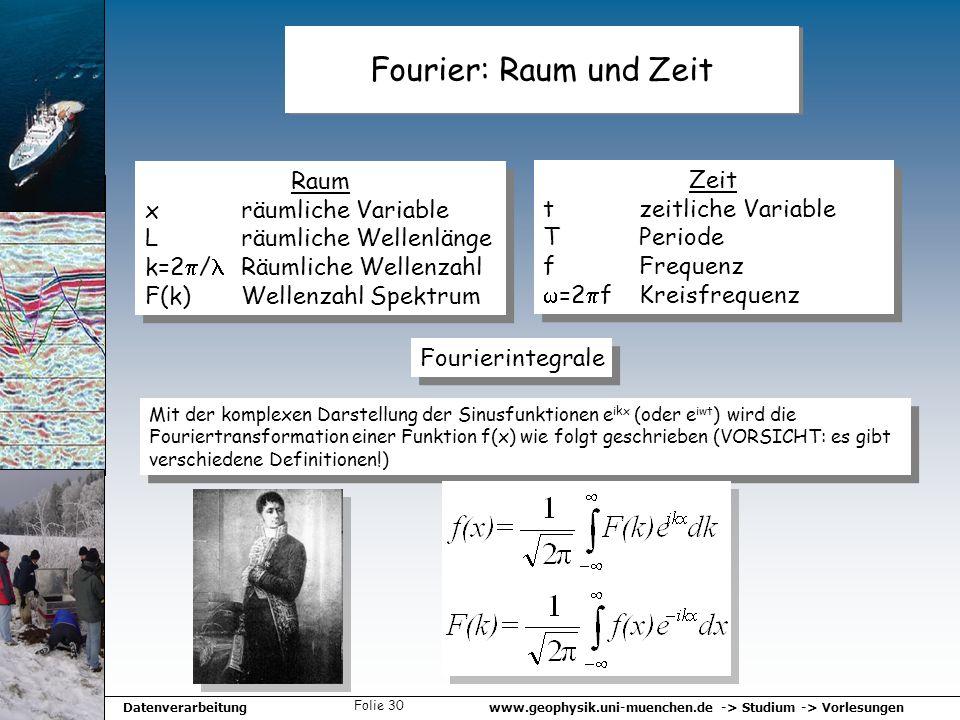 www.geophysik.uni-muenchen.de -> Studium -> VorlesungenDatenverarbeitung Folie 30 Fourier: Raum und Zeit Raum x räumliche Variable L räumliche Wellenl