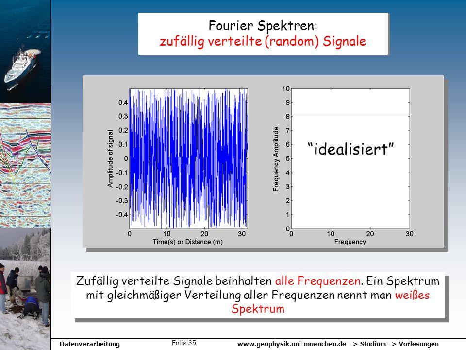 www.geophysik.uni-muenchen.de -> Studium -> VorlesungenDatenverarbeitung Folie 35 Fourier Spektren: zufällig verteilte (random) Signale Zufällig verte