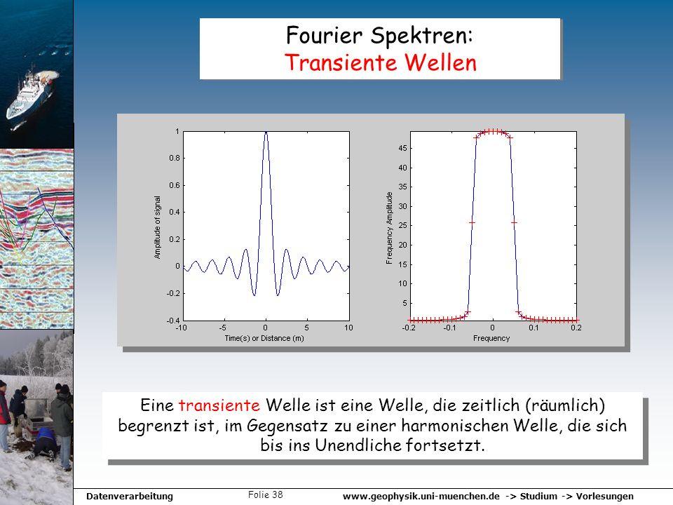 www.geophysik.uni-muenchen.de -> Studium -> VorlesungenDatenverarbeitung Folie 38 Fourier Spektren: Transiente Wellen Eine transiente Welle ist eine W