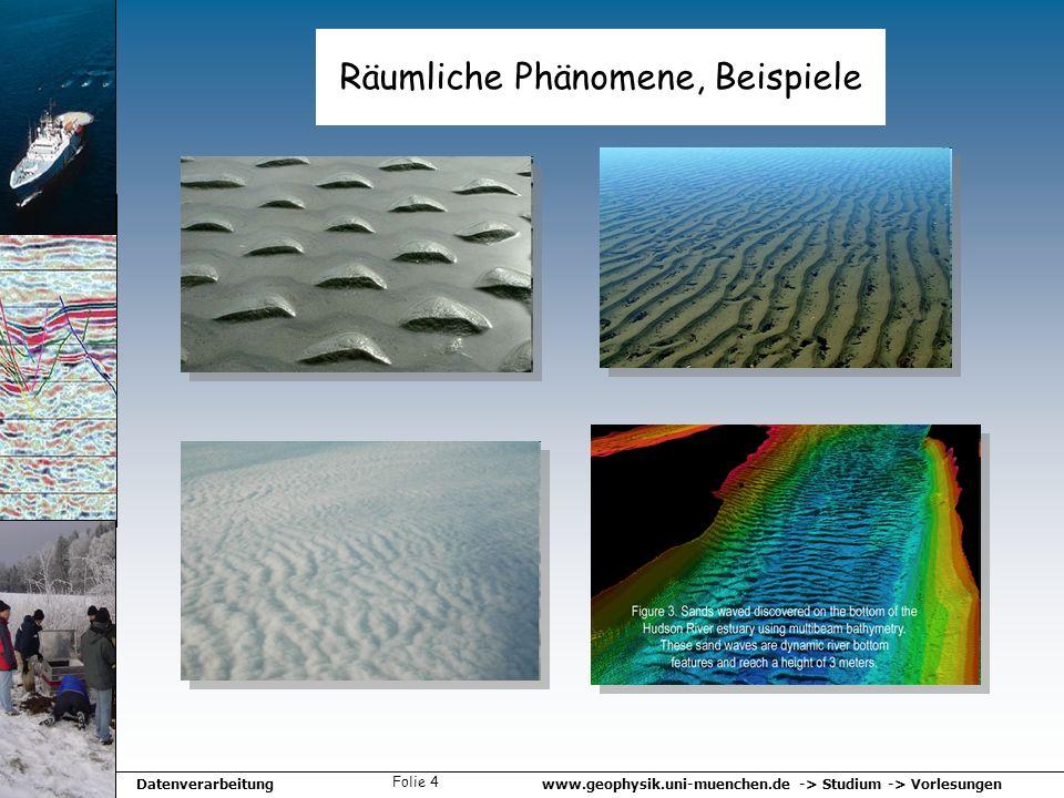 www.geophysik.uni-muenchen.de -> Studium -> VorlesungenDatenverarbeitung Folie 4 Räumliche Phänomene, Beispiele