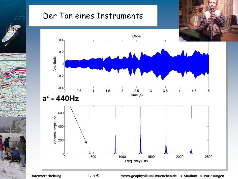 www.geophysik.uni-muenchen.de -> Studium -> VorlesungenDatenverarbeitung Folie 41 Der Ton eines Instruments a - 440Hz