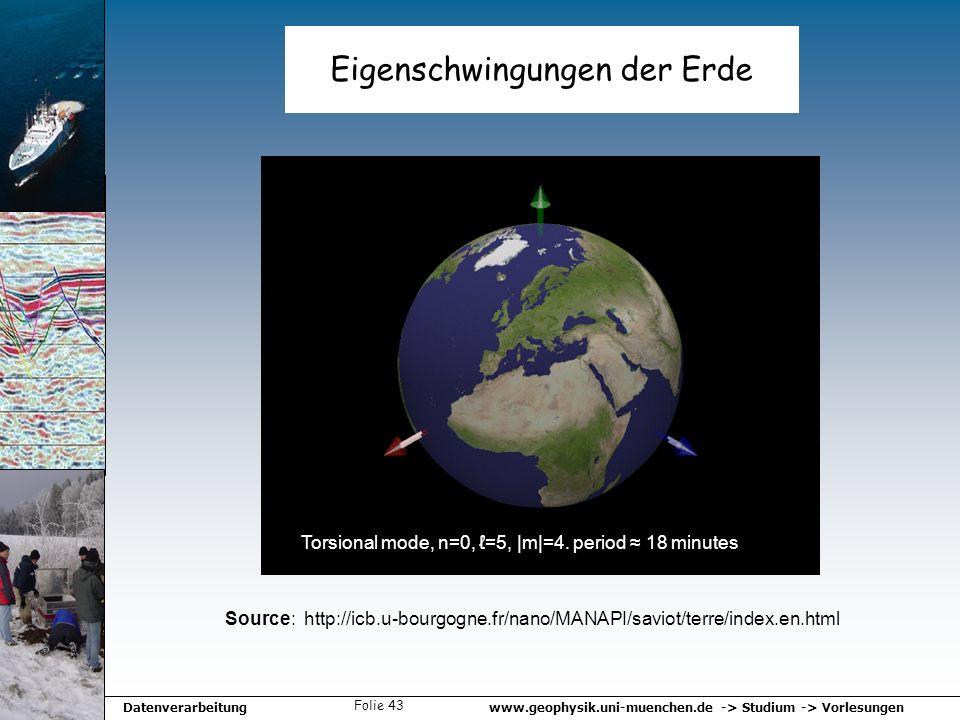 www.geophysik.uni-muenchen.de -> Studium -> VorlesungenDatenverarbeitung Folie 43 Eigenschwingungen der Erde Source: http://icb.u-bourgogne.fr/nano/MA