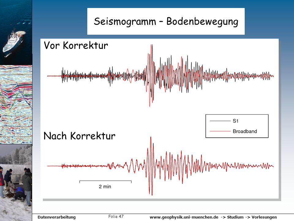 www.geophysik.uni-muenchen.de -> Studium -> VorlesungenDatenverarbeitung Folie 47 Seismogramm – Bodenbewegung Vor Korrektur Nach Korrektur