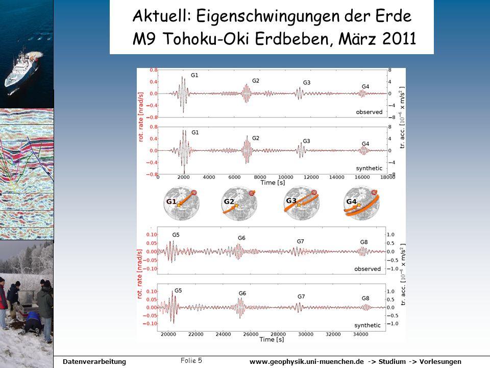 www.geophysik.uni-muenchen.de -> Studium -> VorlesungenDatenverarbeitung Folie 5 Aktuell: Eigenschwingungen der Erde M9 Tohoku-Oki Erdbeben, März 2011