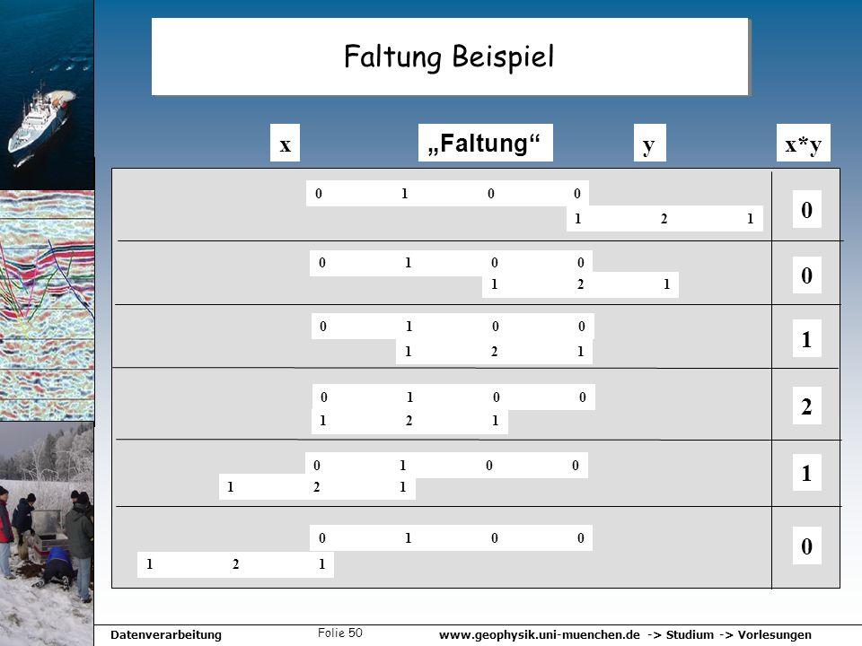 www.geophysik.uni-muenchen.de -> Studium -> VorlesungenDatenverarbeitung Folie 50 Faltung Beispiel xy Faltung 01000100 121121 01000100 121121 01000100