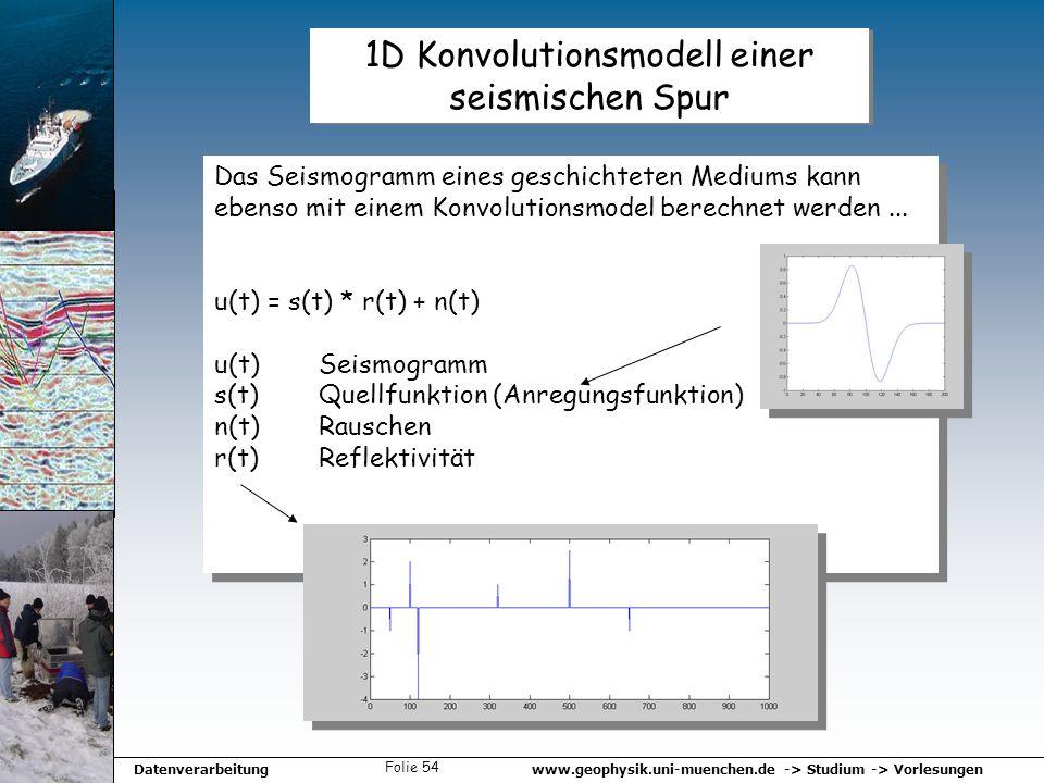 www.geophysik.uni-muenchen.de -> Studium -> VorlesungenDatenverarbeitung Folie 54 1D Konvolutionsmodell einer seismischen Spur Das Seismogramm eines g