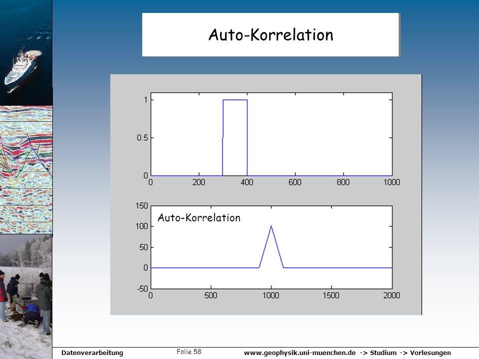 www.geophysik.uni-muenchen.de -> Studium -> VorlesungenDatenverarbeitung Folie 58 Auto-Korrelation