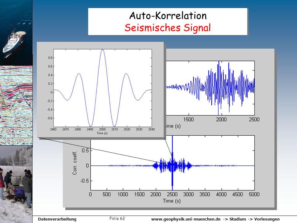 www.geophysik.uni-muenchen.de -> Studium -> VorlesungenDatenverarbeitung Folie 62 Auto-Korrelation Seismisches Signal