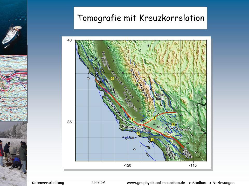 www.geophysik.uni-muenchen.de -> Studium -> VorlesungenDatenverarbeitung Folie 69 Tomografie mit Kreuzkorrelation