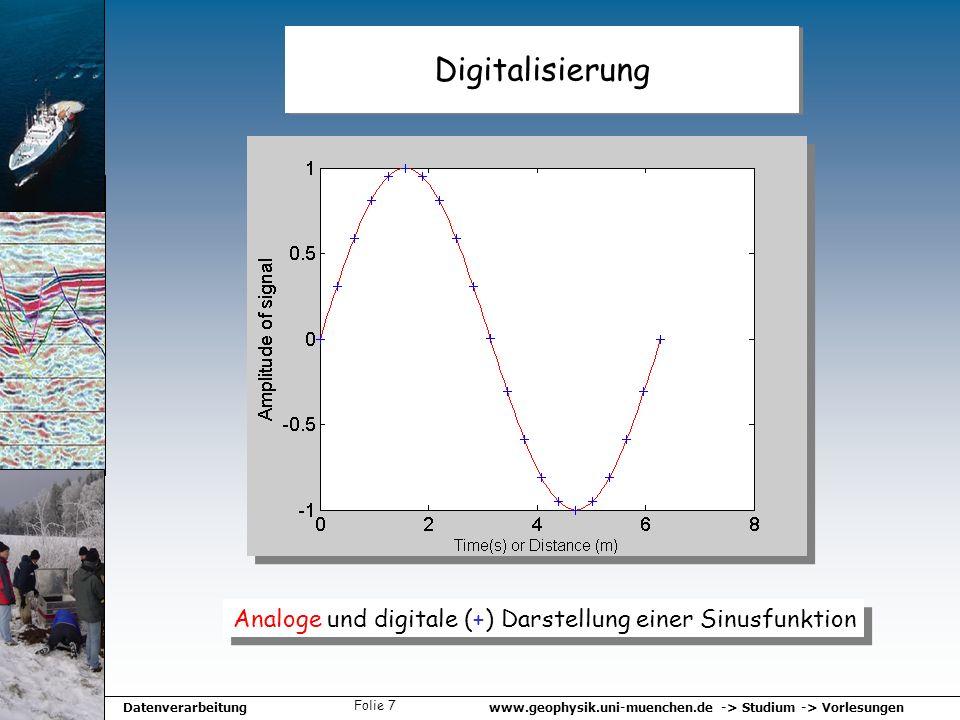 www.geophysik.uni-muenchen.de -> Studium -> VorlesungenDatenverarbeitung Folie 7 Digitalisierung Analoge und digitale (+) Darstellung einer Sinusfunkt