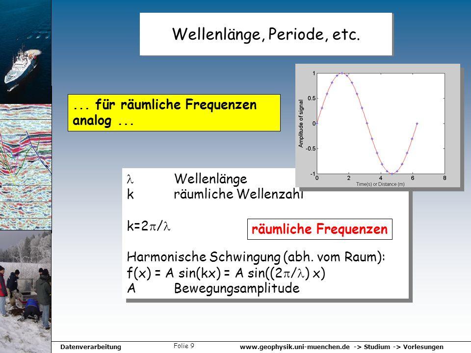 www.geophysik.uni-muenchen.de -> Studium -> VorlesungenDatenverarbeitung Folie 9 Wellenlänge, Periode, etc.... für räumliche Frequenzen analog... Well