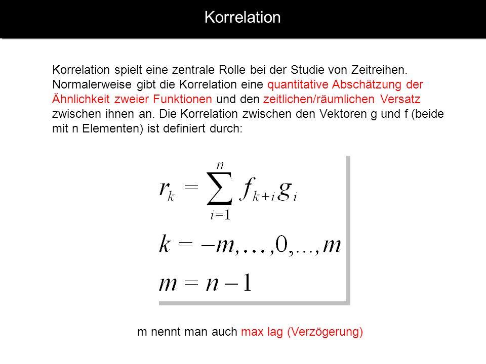 Korrelation Korrelation spielt eine zentrale Rolle bei der Studie von Zeitreihen.