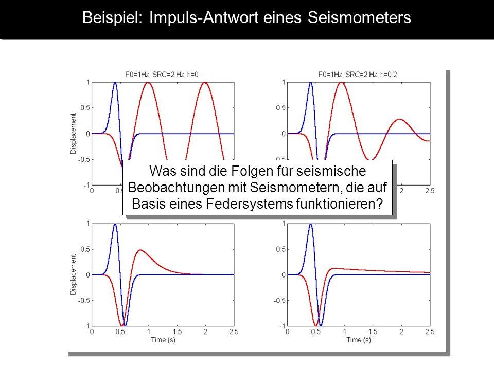 Beispiel: Impuls-Antwort eines Seismometers ugug x x0x0 xrxr Was sind die Folgen für seismische Beobachtungen mit Seismometern, die auf Basis eines Federsystems funktionieren?