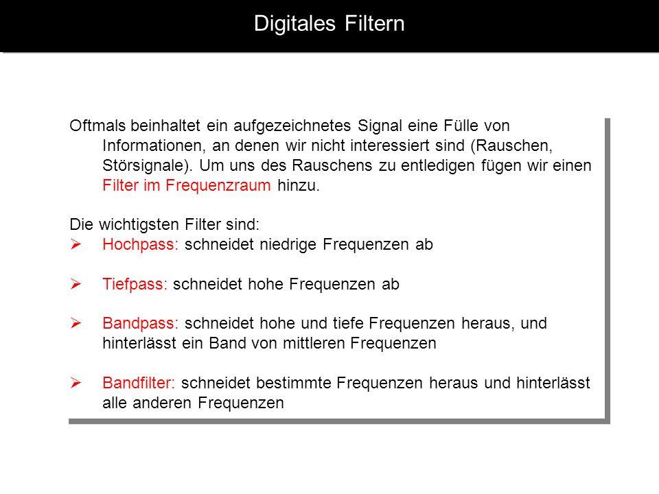 Digitales Filtern Oftmals beinhaltet ein aufgezeichnetes Signal eine Fülle von Informationen, an denen wir nicht interessiert sind (Rauschen, Störsignale).