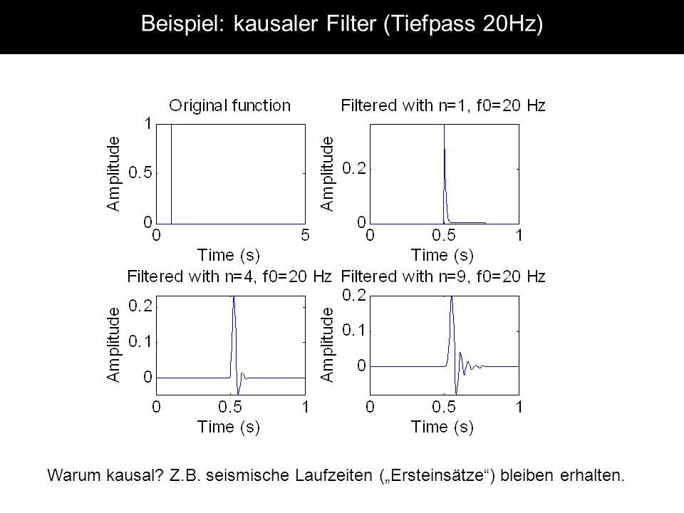 Beispiel: kausaler Filter (Tiefpass 20Hz) Warum kausal.
