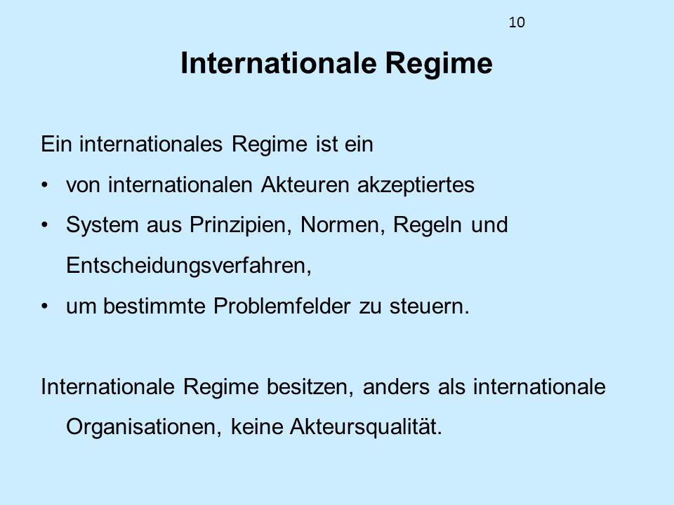 10 Internationale Regime Ein internationales Regime ist ein von internationalen Akteuren akzeptiertes System aus Prinzipien, Normen, Regeln und Entsch
