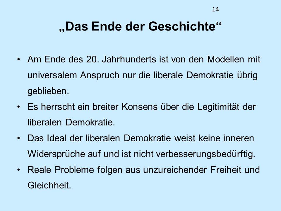14 Das Ende der Geschichte Am Ende des 20. Jahrhunderts ist von den Modellen mit universalem Anspruch nur die liberale Demokratie übrig geblieben. Es