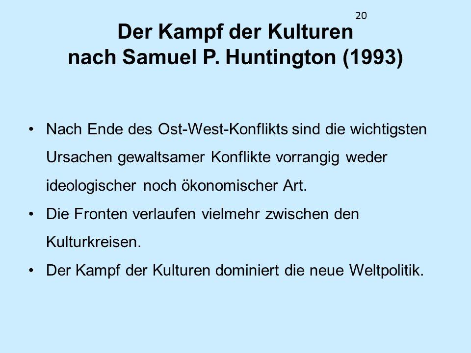 20 Der Kampf der Kulturen nach Samuel P. Huntington (1993) Nach Ende des Ost-West-Konflikts sind die wichtigsten Ursachen gewaltsamer Konflikte vorran