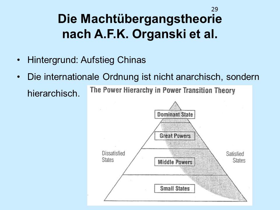 29 Die Machtübergangstheorie nach A.F.K. Organski et al. Hintergrund: Aufstieg Chinas Die internationale Ordnung ist nicht anarchisch, sondern hierarc