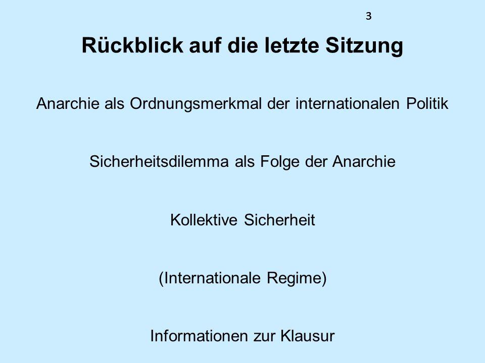 3333 Rückblick auf die letzte Sitzung Anarchie als Ordnungsmerkmal der internationalen Politik Sicherheitsdilemma als Folge der Anarchie Kollektive Si