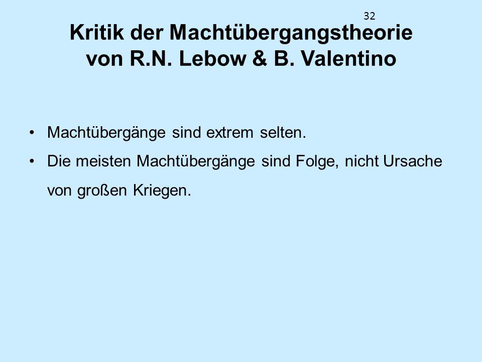 32 Kritik der Machtübergangstheorie von R.N. Lebow & B. Valentino Machtübergänge sind extrem selten. Die meisten Machtübergänge sind Folge, nicht Ursa