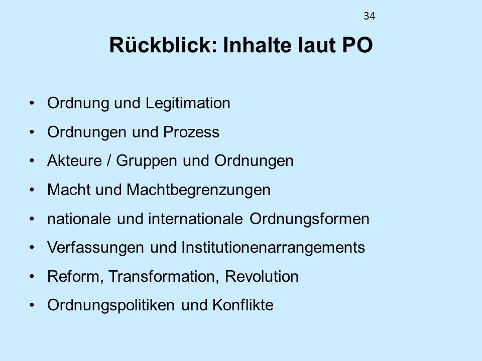 34 Rückblick: Inhalte laut PO Ordnung und Legitimation Ordnungen und Prozess Akteure / Gruppen und Ordnungen Macht und Machtbegrenzungen nationale und