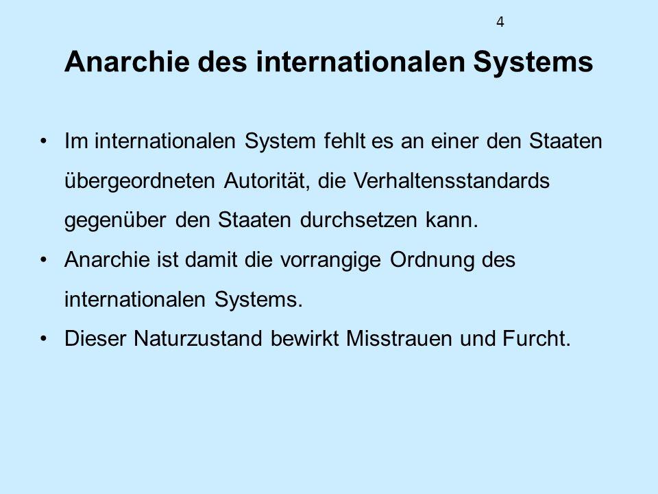 4 Anarchie des internationalen Systems Im internationalen System fehlt es an einer den Staaten übergeordneten Autorität, die Verhaltensstandards gegen