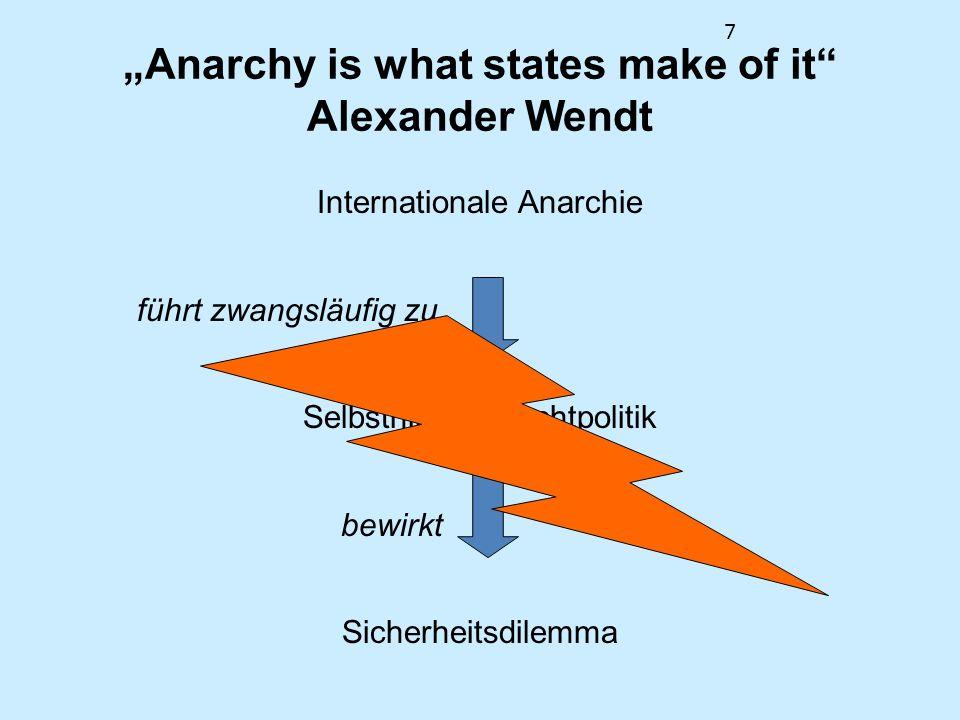 7 Anarchy is what states make of it Alexander Wendt Internationale Anarchie führt zwangsläufig zu Selbsthilfe & Machtpolitik bewirkt Sicherheitsdilemm