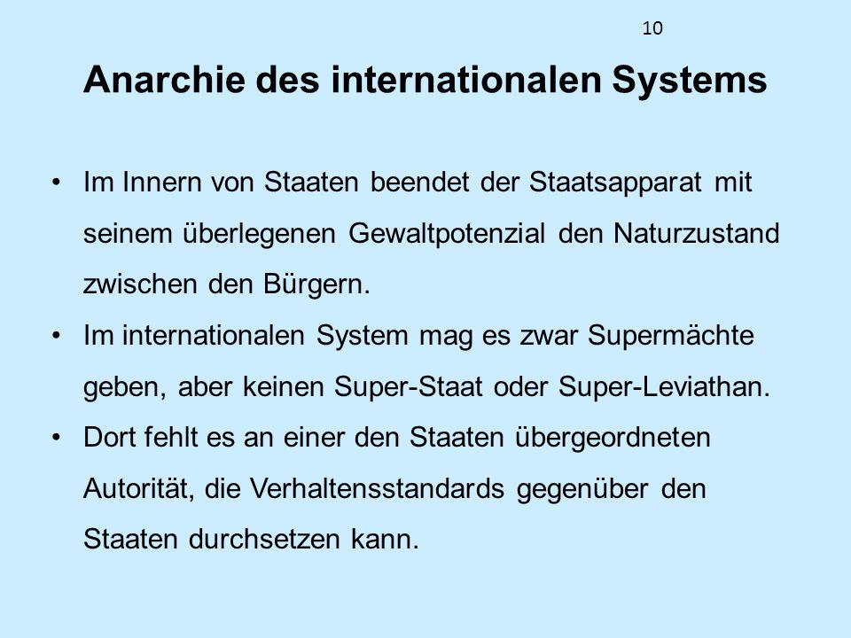 10 Anarchie des internationalen Systems Im Innern von Staaten beendet der Staatsapparat mit seinem überlegenen Gewaltpotenzial den Naturzustand zwisch